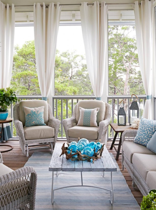 Blue Summer Porch Idea with Privacy Curtains