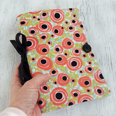 handmade art journal fabric with button and elastic closure
