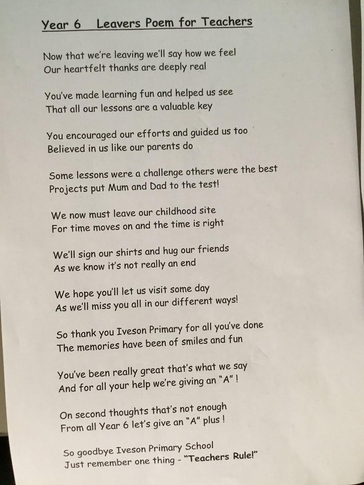 leavers poems year 6