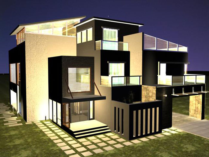 Beautiful home the best film in 3d plans banglows modern for Best contemporary house design