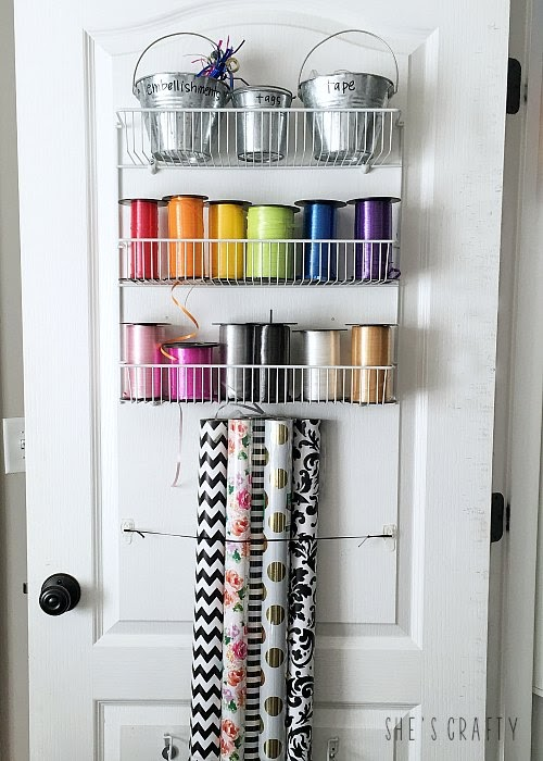 Gift Wrap Organizer - how to store ribbon and gift wrap rolls in unused space behind the door