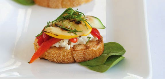 Grilled Vegetables Goat Cheese Brushetta Recipe