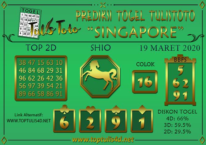 Prediksi Togel SINGAPORE TULISTOTO 19 MARET 2020