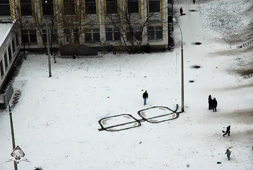28 Pieces Of Street Art That Cleverly Interact With Their Surroundings - Glasses, Russia