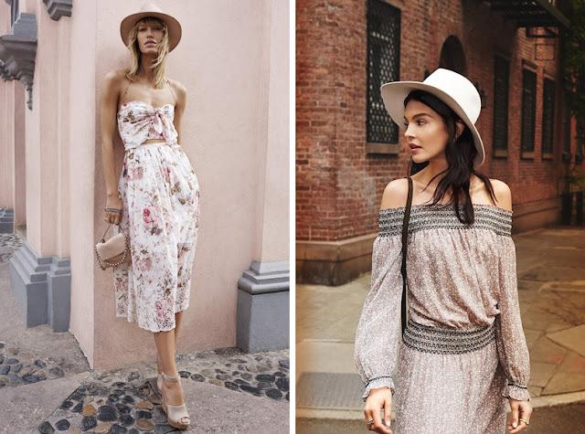 Девушка в фетровой шляпе федоре летом в городе с легким платьем