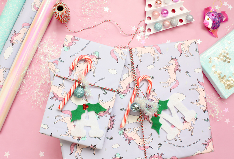 creative gift wrapping ideas candy cane unicorn