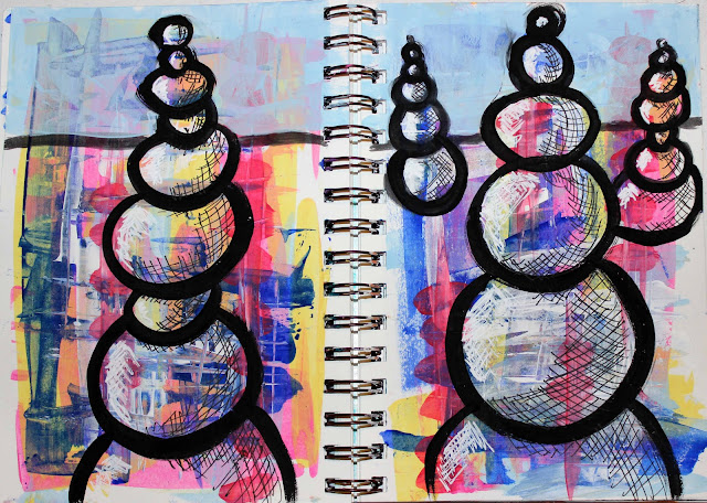 cairn art journal page mixed media acrylics