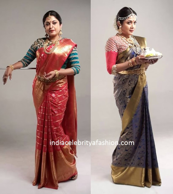 Ramya Krishnan in Two kanchi Pattu Saris