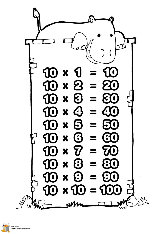 COLOREA TUS DIBUJOS: Tabla de multiplicar del numero 10 para colorear