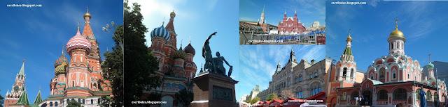 Viaje a Rusia: Moscú. Catedral de san Basilio con Kremlim de fondo y monumento de Minin y Pozharsky, gradas tapando el Museo de Historia Rusa, centro comercial GUM y Catedral de Kazán de Moscú