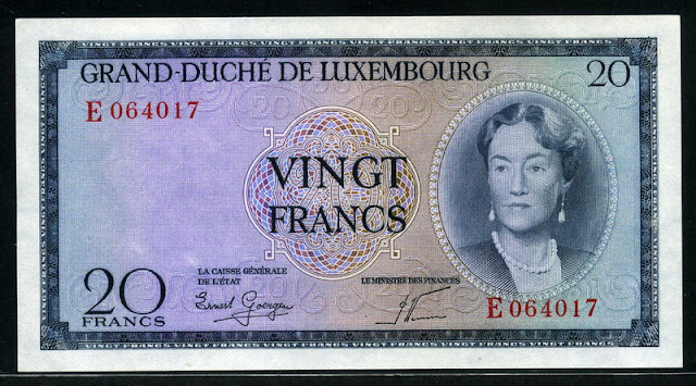 Luxembourg currency banknotes 20 Francs banknote Grand Duchess Charlotte