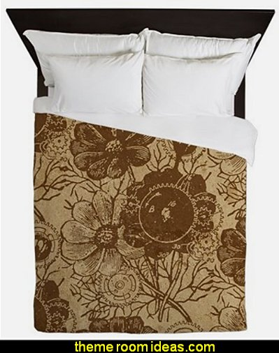 Flowers And Gears Brown Queen Duvet