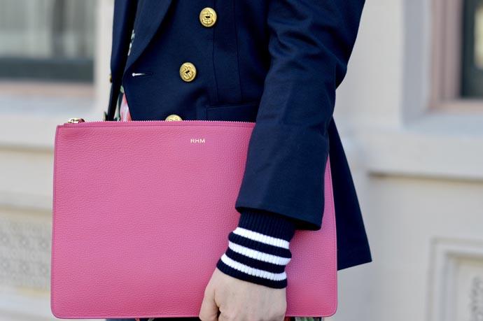 pink monogram clutch