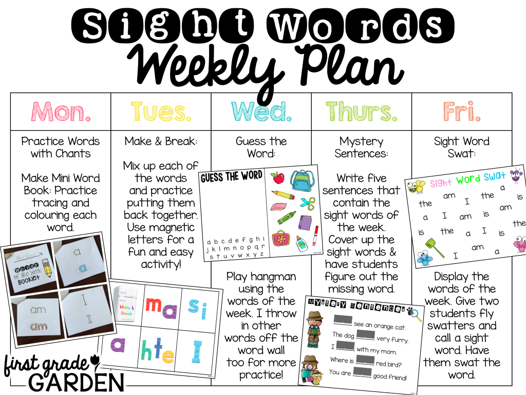 First Grade Garden: Daily Schedule - Sight Words and Poetry/Phonics