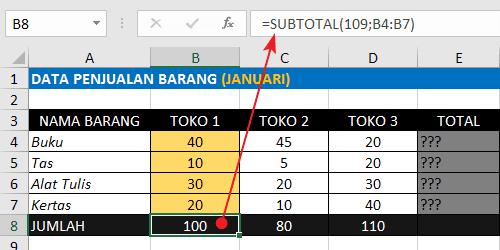 Rumus Excel Penjumlahan Ke Bawah Dengan Fungsi SUBTOTAL