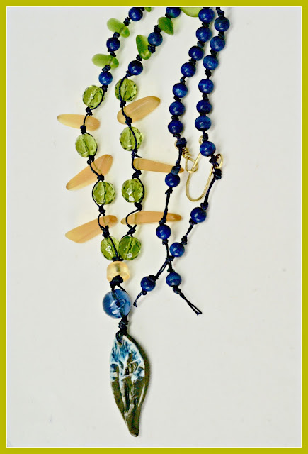 Earthy navy blue necklace by BayMoonDesign
