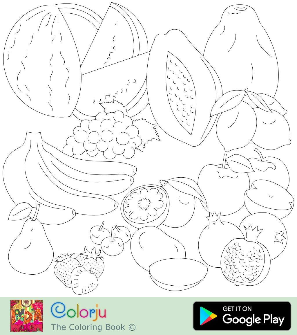 Fruit Basket Coloring Pages To Print - Coloring Home | 1154x1024