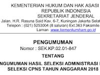 Pengumuman Hasil Seleksi Administrasi Pada Seleksi CPNS Tahun Anggaran 2018