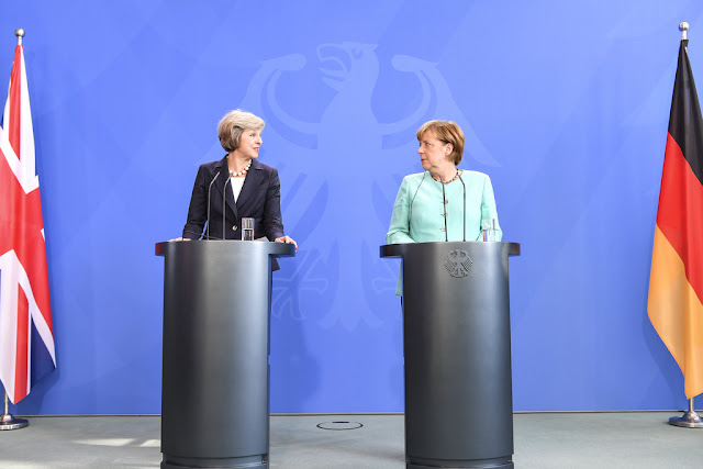 Prime Minister Theresa May with the German Chancellor Angela Merkel