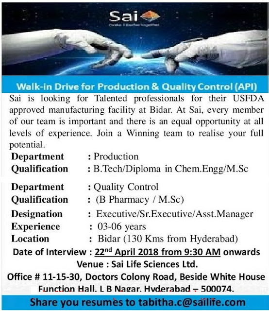 Sai Life Sciences Ltd  Walk In Drive For Quality Control,Production,Executive, Sr. Executive, Asst. manager At 22  April