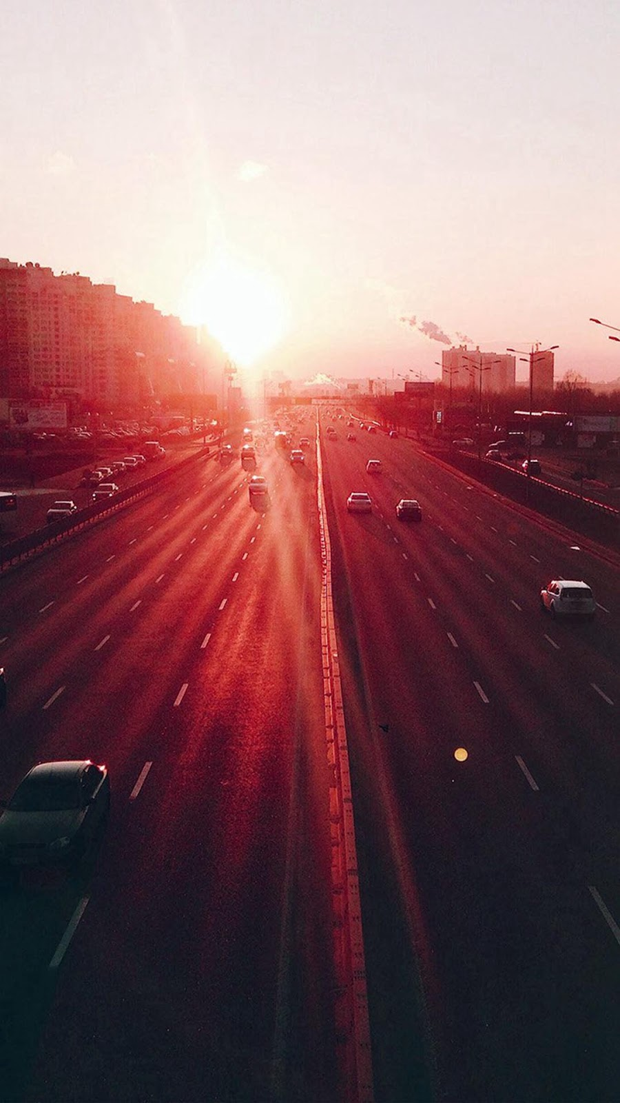 hd iphone 7 wallpapers - city sunset road car red flare - hd