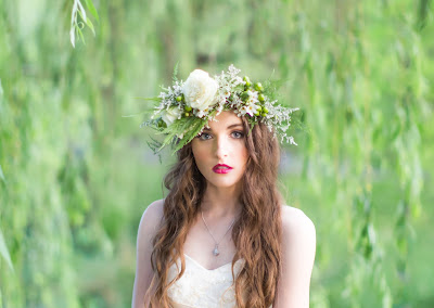 Sydney Bridal Photoshoot Inspiration - Floral crown, vintage style props and bold lip colour