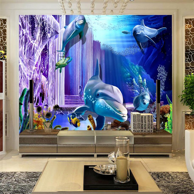 Dolphin Undersea wall mural Wall mural wallpaper 3d underwater palace dolphins photo wallpaper animal