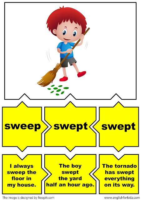irregular verbs flashcards, verb sweep