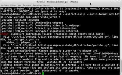 error Youtube-dl en Debian 8.7