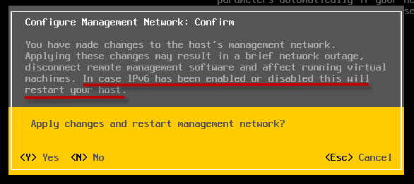 Disabling IPv6 via Command-Line For ESXi 5 1 (Without