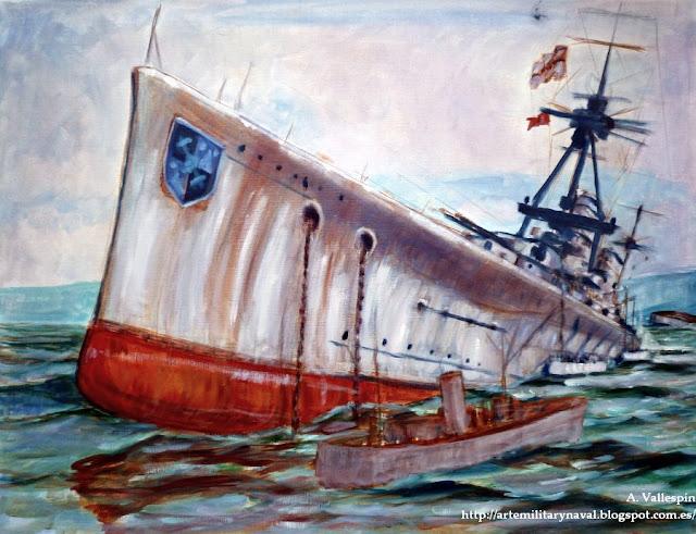 Pintura del hundimiento del SMS Derfflinger en Scapa Flow