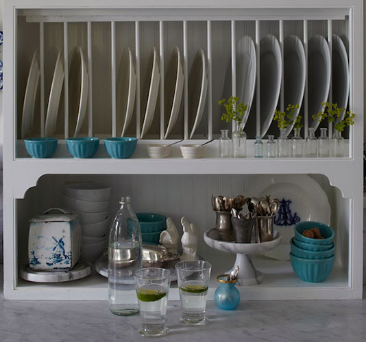 Country cupboard with plate rack design by Annie Brahler - found on Hello Lovely Studio