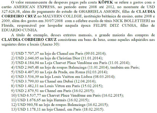 Veja a lista do que a mulher do Cunha comprou com o dinheiro roubado ao povo brasileiro