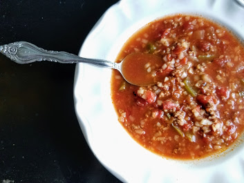 Slow Cooker Whole30 Stuffed Green Pepper Soup - My Thrifty House