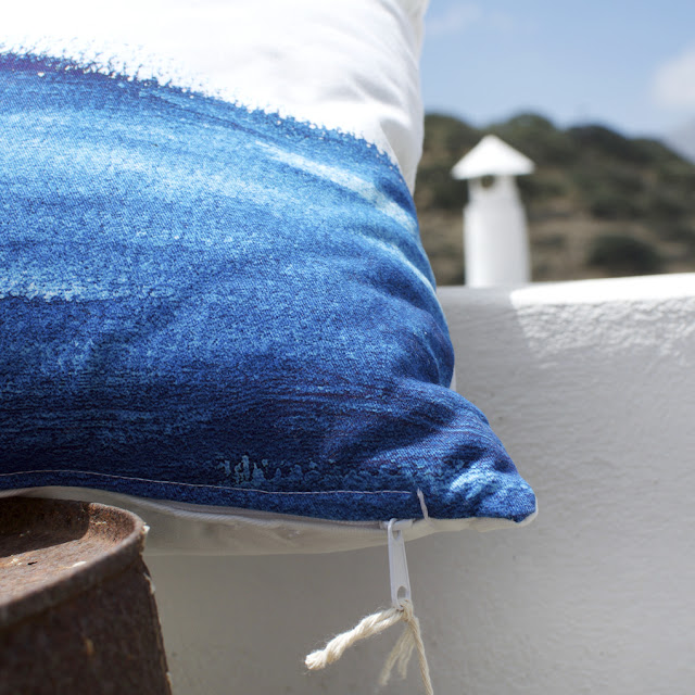 Aegean Shapes, blue Cushion Cover, Alexandra Papadimouli  |  the Round Button blog