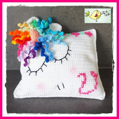 Unicorn Crochet Pillow by Ms. Chee-Chee