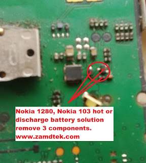 Nokia 1280 or Nokia 103 hot or discharges battery solution