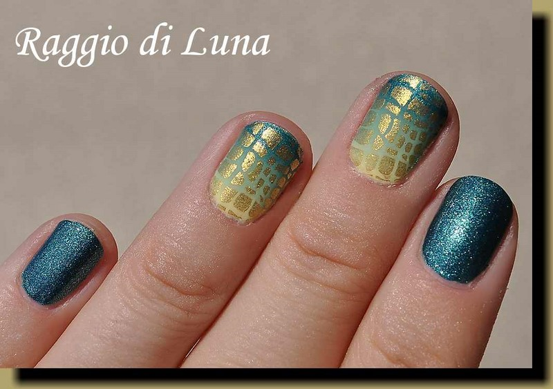 Raggio di Luna Nails: Stamping: Golden reptile pattern on yellow ...