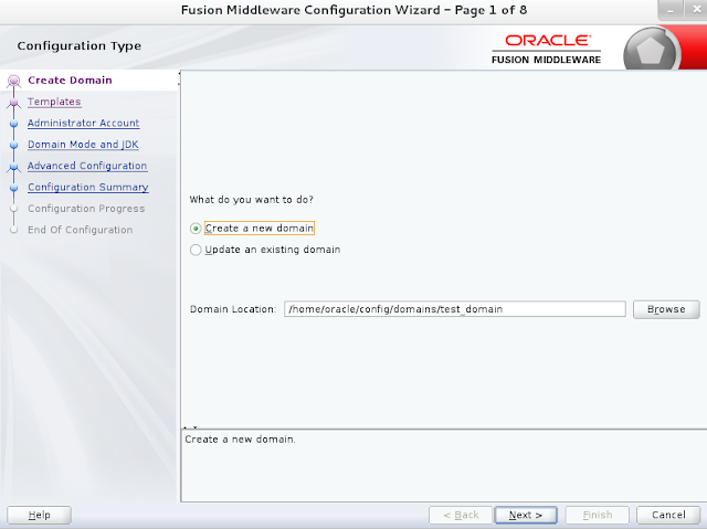 Weblogic domain creation step 1