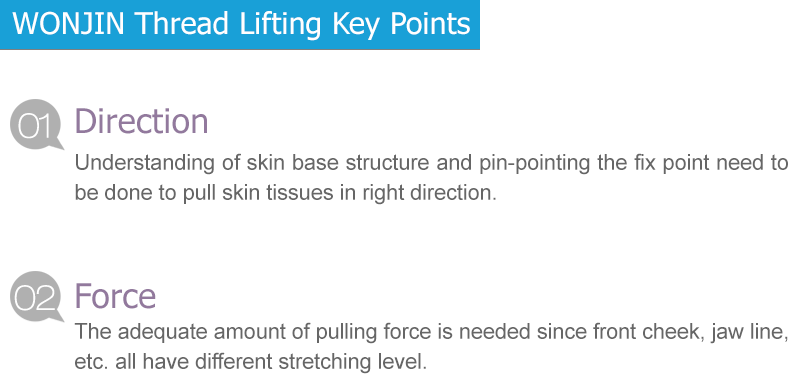 - Direction Understanding of skin base structure and pin-pointing the fix point need to be done to pull skin tissues in right direction.  - Force The adequate amount of pulling force is needed since front cheek, jaw line, etc. all have different stretching level.
