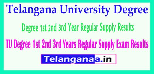 Telangana University Degree 1st 2nd 3rd Year Regular Supply Results