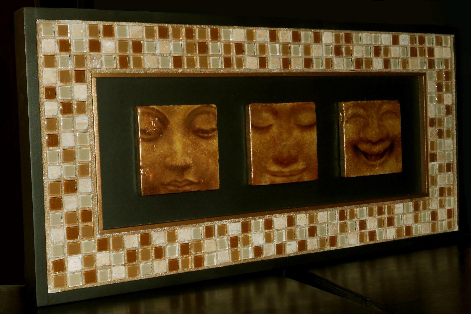 Mosaic Meditations: Gold Themed Mosaic Wall Art