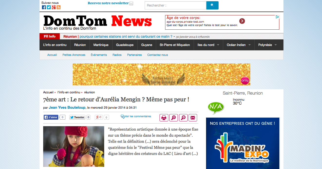 Festival MEME PAS PEUR 2014 dans Dom-Tom News