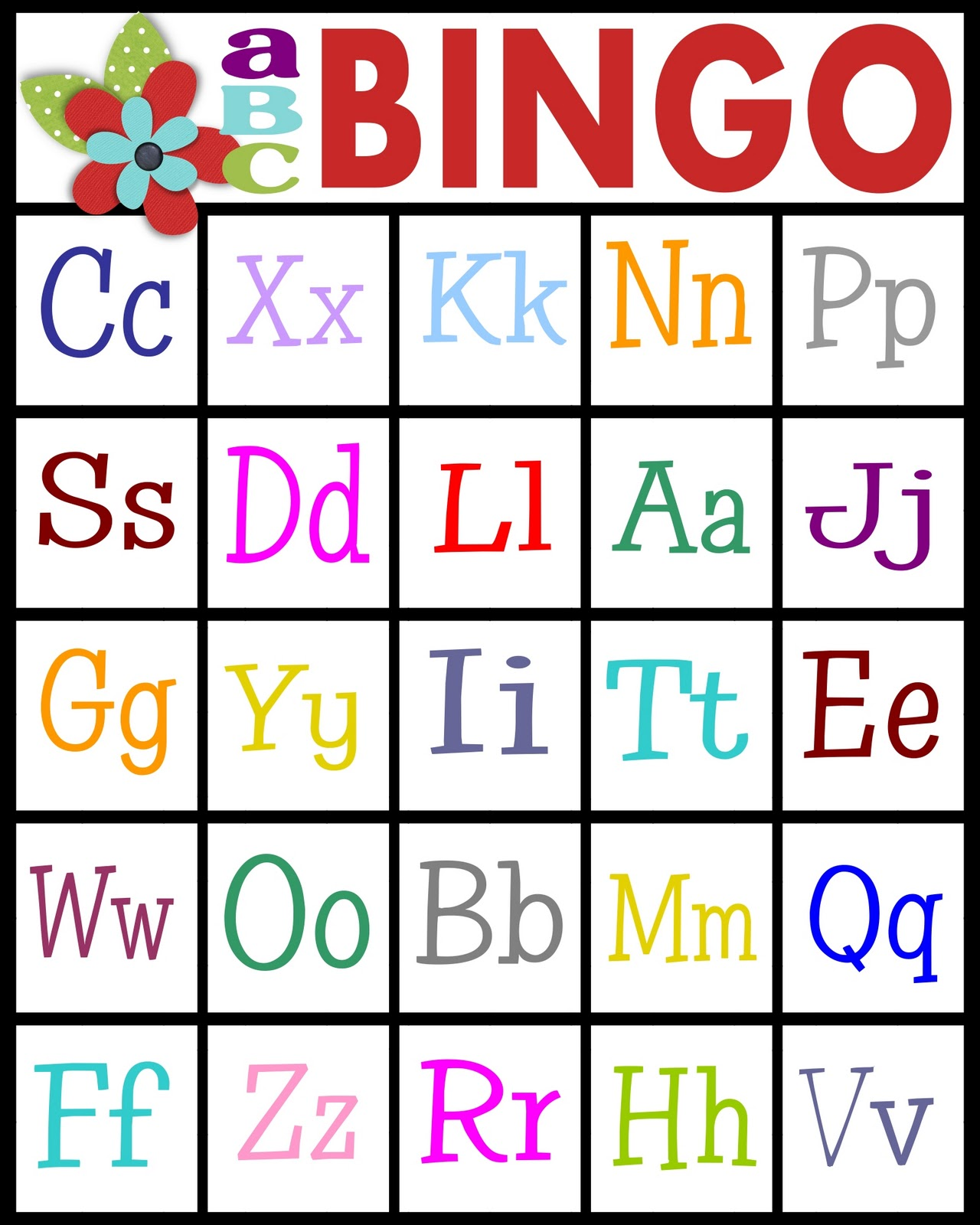 Clever image throughout letter bingo printable