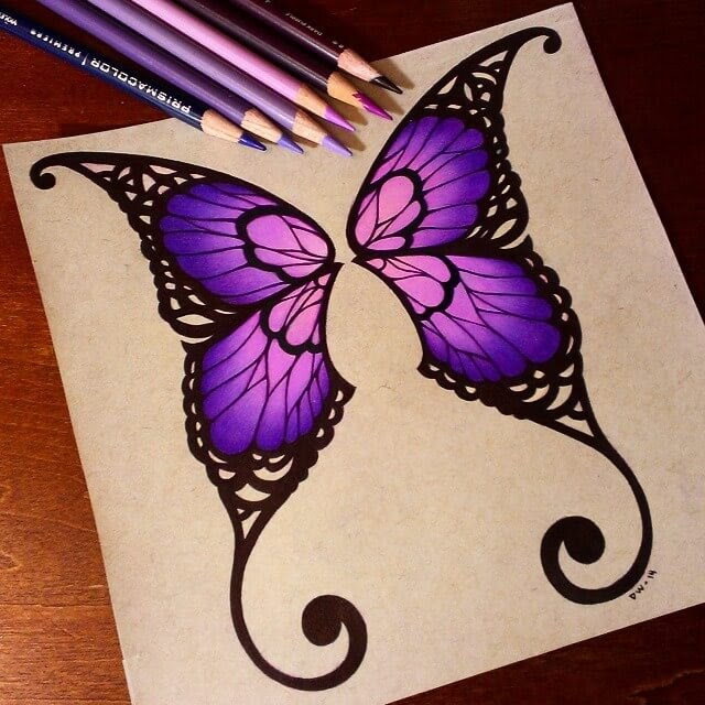 03-Butterfly-Wings-Danielle-Washington-Brightly-Colored-Pencil-Drawings-www-designstack-co