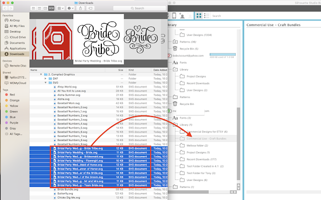 Silhouette Studio organizing font bundles