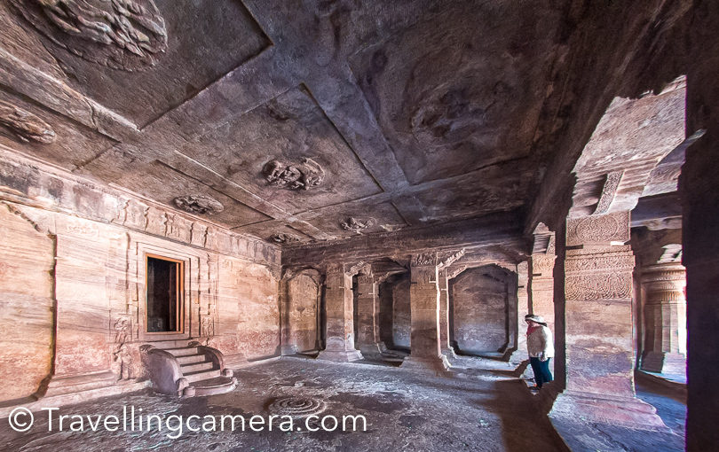 If you notice, there are various things designed on roof-top as well in Badami. I noticed Brahma on Hamsa in cave-3 on the ceiling. We have shared some of the ceiling photographs at the bottom of this blogpost.