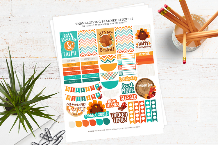 free thanksgiving printable stickers at DIY Candy