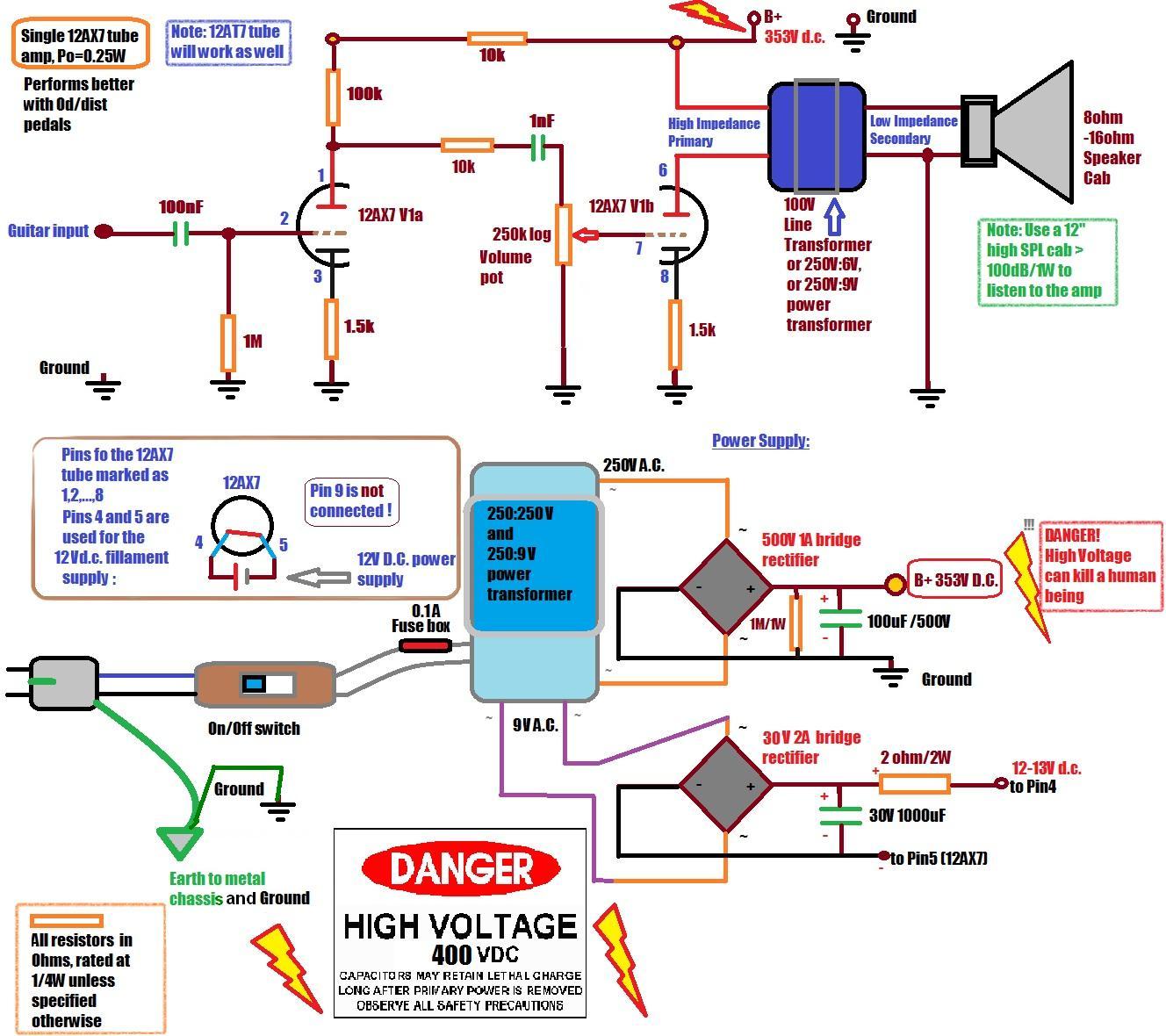 hight resolution of diy single 12ax7 1 4w tube amp guitar dreamer guitar amp schematics diy