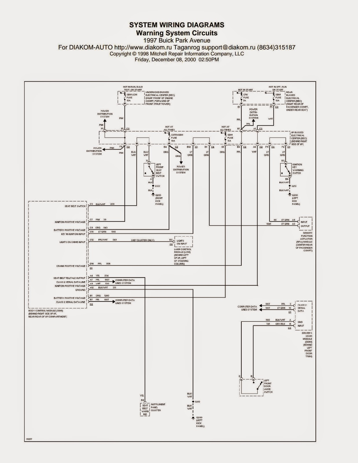 Wiring Diagrams and Free Manual Ebooks: 1997 Buick Park